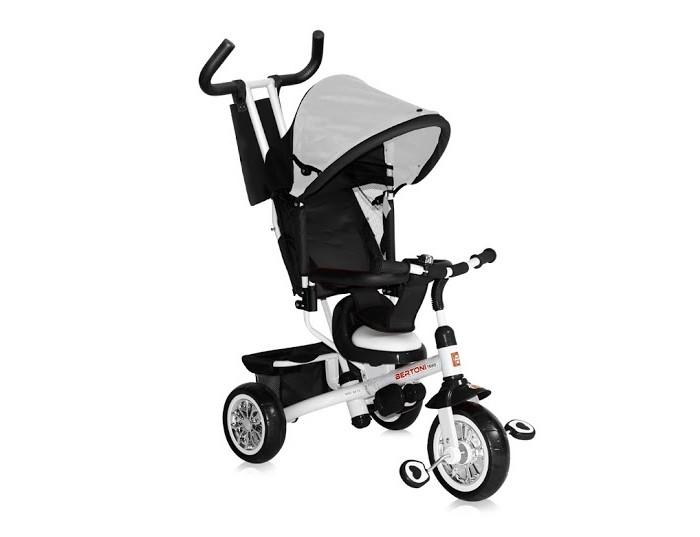 Велосипед трехколесный Bertoni (Lorelli) B302AB302AТрёхколёсный велосипед для детей от 1 до 4 лет.   Цельнометаллическая рама.  Широкие пластиковые колеса с покрытием из мягкой резины.  Блокировка/разблокировка колес и руля.  Амортизатор переднего колеса.  Регулируемое сидение: 2 позиции.  Сиденье с мягкой подушкой.  Ручка для родителей с мягкий накладкой.  Управление рулем при помощи родительской ручки.  Родительская ручка и дополнительная спинка съемные.  Мягкая ручка на руле для транспортировки велосипеда.  Сумочка для мамы.  Ремни безопасности с мягкими накладками и возможностью регулировки.  Блокировка педалей.  Козырек. Звонок.  Корзина. Переднее крыло.   Ширина колесной базы: 58 см.  Диаметр колес: переднее - 21 см, задние - 16 см.  Размеры корзины: 23x44 см.  Высота сиденья: 31 см.  Высота ручки: 96 см.  Вес: 6.3 кг.<br>