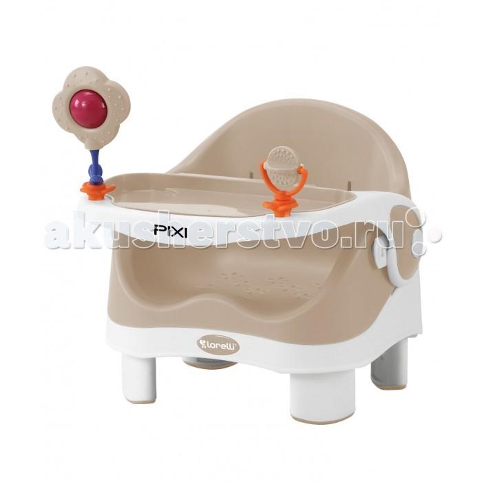 Стульчик для кормления Bertoni (Lorelli) PixiPixiBertoni (Lorelli) Pixi Стульчик для кормления легкий и компактный пластиковый стульчик с игрушками на столешнице пригодится для кормления малыша уже с полугода.   С помощью пары ремней он крепится поверх обычного стула, и, таким образом, кроха сможет сидеть за одним столом с взрослыми, оставаясь в безопасности. Стульчик весит меньше 3 кг, складывается для хранения и имеет ручку для переноски, так что его можно взять с собой на дачу или переносить по дому в любое удобное место без особых усилий.  Для того, чтобы малышу было удобно сидеть за стульчиком Pixi в любом возрасте, столешница имеет 3 положения. А пара игрушек на столике не дадут крохе заскучать.   Особенности: Возраст: 6 мес - 3 года Максимальный вес ребенка: 15 кг. Вес: 2.25 кг. Столик: 3 положения.<br>