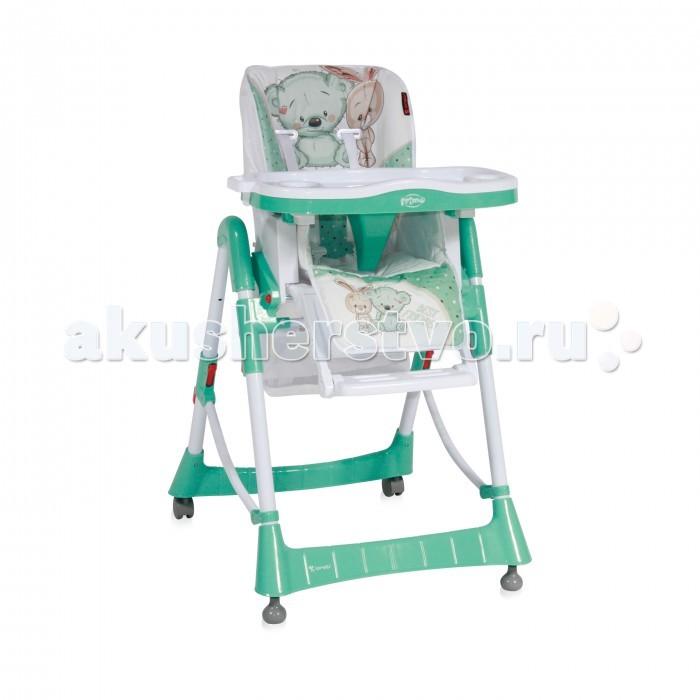 Стульчик для кормления Bertoni (Lorelli) PrimoPrimoСтульчик для кормления Bertoni (Lorelli) Primo - комфортный, функциональный и практичный, компактен в сложенном состоянии, его удобно брать с собой в путешествия.  Стульчик безопасный для малыша, ведь он оборудован ремнями безопасности и перегородкой для ножек, которые надежно защитят ребеночка от выпадания из стульчика.  Спинка сидения регулируется по углу наклону, она мягкая и удобная, но в тоже время имеет жесткий и устойчивый каркас, поддерживающий спинку ребеночка. Стульчик в зависимости от возраста ребенка, регулируется по высоте в пяти положениях, съемный столик имеет поднос с углублением для чашки или бутылочки.   Особенности: Стул для кормления предусмотрен для деток возрастом – от 6 месяцев до 3 лет. Материал изготовления – металл с ударостойким пластиком. Конструкцией предусмотрены два съемных подноса; поверхность столиков выполнена с фигурами для установки тарелок, салфетниц и чашек. Сидение регулируется по высоте в 5 положениях. Наклон спинки осуществляется в трех уровнях. Имеется эргономичная подставка для ножек, на которую малыш для удобства всегда может опереться. Пятиточечный ремень безопасности защитит малыша от непреднамеренного выпадения. Также имеется специальный паховый ограничитель. В нижней части находятся два колеса – они оборудованы фиксаторами (блокировочными тормозами) для ограничения модуля в передвижении. Cтул для кормления Бертони Примо оборудован корзиной для хранения вещей и детских принадлежностей. Стульчик изготовлен в классическом исполнении, полностью отвечает требуемым стандартам качества.<br>