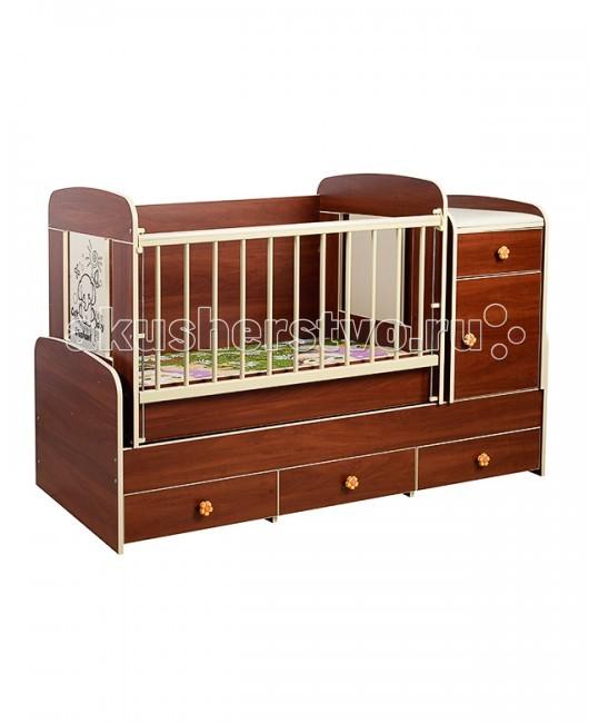 Кроватка-трансформер Glamvers MultyMultyКроватка-трансформер Glamvers Multy  Кровать Multy 3 в 1 дл детей от 0 до 14 лет. Кроватка трансформируетс в подросткову кровать (размер 1600х700)+стол+комод.  В комплекте матрас(кокос+холлофайбер 8см)+пеленальный столик.  Особенности: кровать-трасформер 3 в 1,материал ЛДСП+бук в комплект входит - матрас+пеленальный столик матниковый механизм качани решетка опускаетс- несколько положений  силиконовые накладки  два уровн положени ложа возможность установить комод как лева так и справа кровать дл подростка 14 лет   Размер кроватки дл новорожденных: 110х60 Размер кроватки дл подростков: 160х70<br>