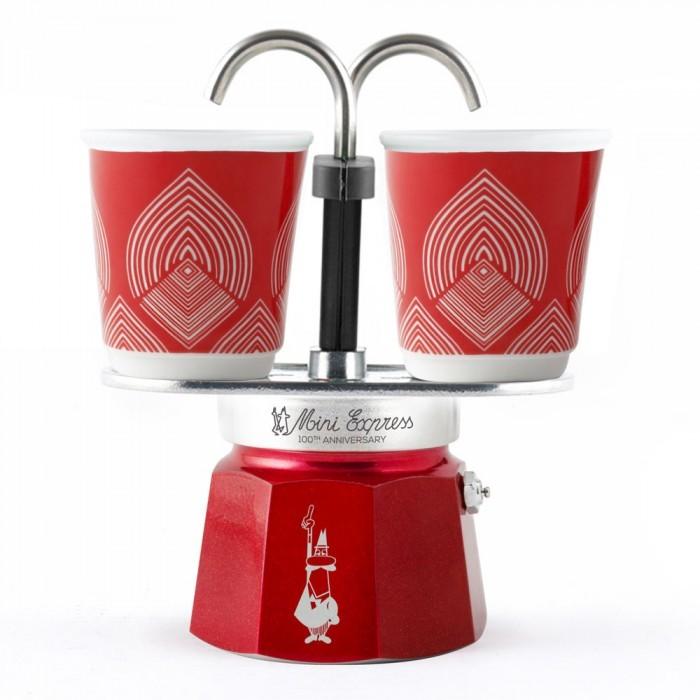 Фото - Бытовая техника Bialetti Гейзерная кофеварка Mini Express к столетию 2 порции с чашками гейзерная кофеварка bialetti aeternum divina 4 порции металлик