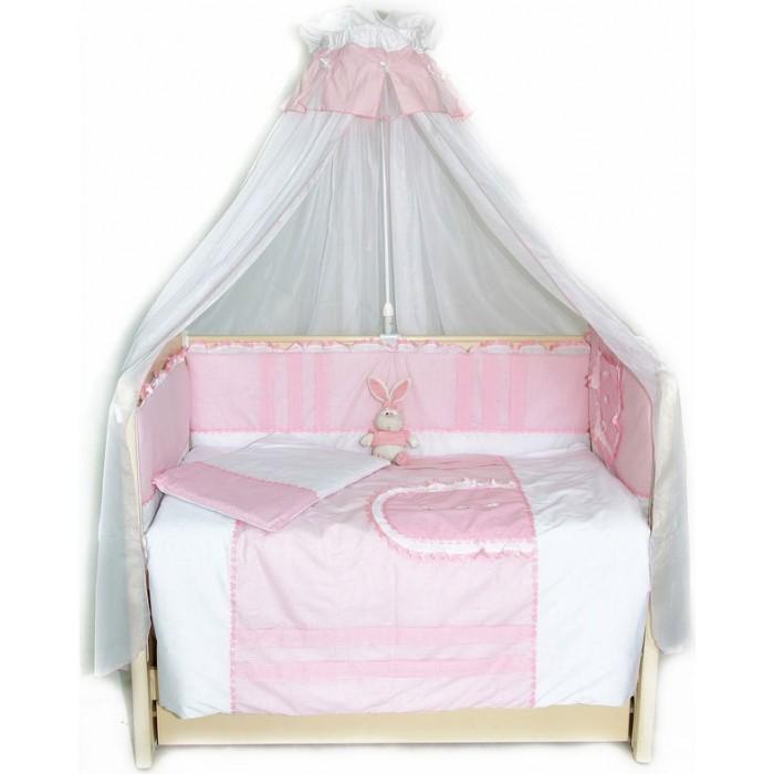 Комплект в кроватку Bombus Кроха (7 предметов)Кроха (7 предметов)Красивый и нежный комплект для кроватки Bombus Кроха.  Описание комплекта: одеяло: 108х142 см подушка: 40х60 см простыня на резинке: 100х150 см бампер съемный на молнии: 360х40 см (наполнитель холлкон) балдахин-вуаль (капрон): 170х300 см наволочка: 40х60 см пододеяльник: 110х145 см   Ткань: хлопок 100% - бязь Наполнитель подушки и одеяла: холлкон<br>