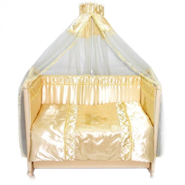 Комплект в кроватку Bombus Золушка (7 предметов)Золушка (7 предметов)Нарядный комплект постельного белья Bombus Золушка из натурального хлопка высокого качества. Роскошный, белый балдахин с золотой отделкой укроет кроватку и защитит малыша от назойливых насекомых, защитный борт на весь периметр кроватки исключит сквозняки и создаст уютное гнездышко.  Описание комплекта:  одеяло: 108х145 см подушка: 40х60см простыня на резинке: 110х150 см бампер: 360х40 см (на молнии) балдахин - органза: 1,80х4,50 см наволочка: 40х60 см пододеяльник: 110х145 см  Ткань: хлопок 100% Наполнитель: холлкон<br>