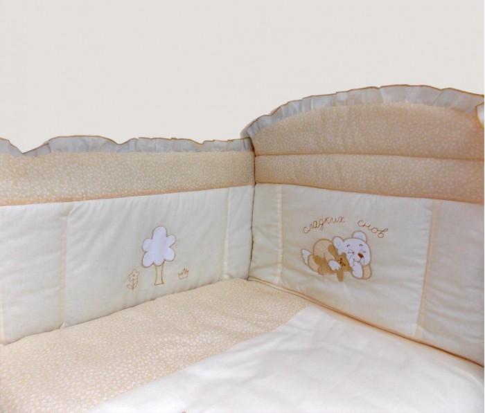 Комплект в кроватку Bombus Светик (7 предметов)Светик (7 предметов)Невероятно нежный комплект в кроватку для малыша Светик выполнен из мягкого хлопка(бязи). Вашему малышу будет комфортно и уютно под легким одеялом. На бортике в изголовье расположился медвежонок с пожеланием сладких снов вашему малышу.  В качестве наполнителя используется Холлкон, Он хорошо пропускает влагу, гипоаллергенный, дышащий и создает комфортный микро – климат в кроватке. Бортики по всему периметру кроватки сделают сон малыша безопасным. Нежный балдахин изготовлен из мягкой и нежной вуали. Это элегантный и красивый аксессуар для детской кроватки. Создает ощущение уюта и красоты.   В состав комплекта входит 7 предметов:  балдахин (вуаль) (150 см х 400 см) одеяло (105 см х 142 см) подушка (60 см х 40 см)  простыня на резинке (100 см х 150 см) пододеяльник (110 см х 145 см) наволочка (60 см х 40 см) бампер (360 см х 40 см)  Материал: 100% хлопок (бязь) Наполнитель: холлкон гипоаллергенный и всесезонный.  Производитель оставляет за собой право изменять рисунки на ткани.<br>