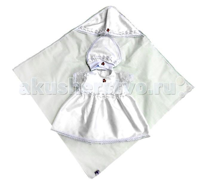 крестильный набор choupette для девочки Крестильная одежда Bombus Крестильный набор для девочки Мира (3 предмета)