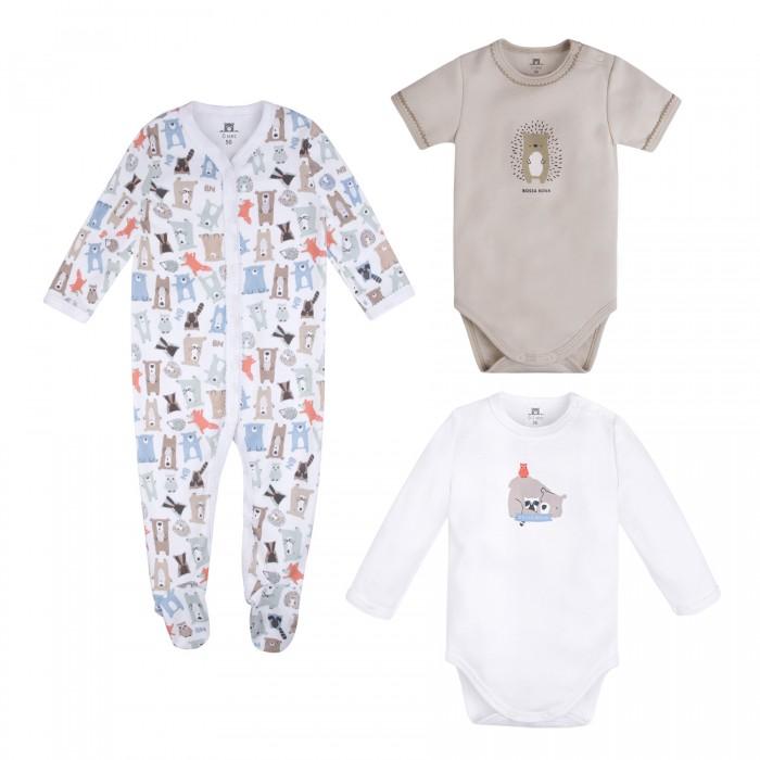 Комплекты детской одежды Bossa Nova Комплект для новорожденных Milka (боди 2 шт. и комбинезон) 063МК-371