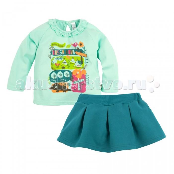 Комплекты детской одежды Bossa Nova Комплект с принтом для девочки (джемпер и юбка) Совушка