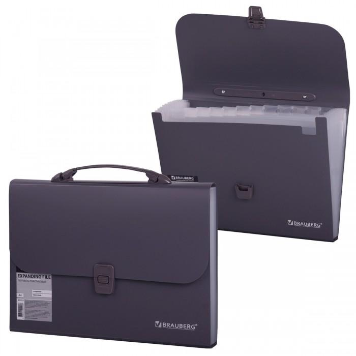 Канцелярия Brauberg Портфель пластиковый А4 (13 отделений) папка портфель без отделений а4 серебряная с черным клапаном