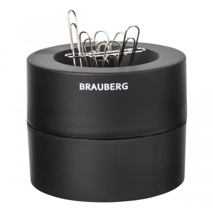 Канцелярия Brauberg Скрепочница магнитная с 30 скрепками большой бочонок