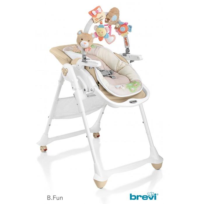 Стульчик для кормления Brevi B.FunB.FunСтульчик для кормления Brevi B.Fun  Brevi B Fun - это новый высокий детский стульчик 3 в 1, который превращается из шезлонга для новорожденных в многофункциональный высокий детский стульчик, чтобы сопровождать в росте ребёнка от 0 до 3 лет. B Fun Brevi предлагает всё то, что необходимо для кормления, сна и игры ребёнка: удобный детский шезлонг в 0-6 месяцев, многофункциональный высокий детский стульчик, используемый с 6 месяцев и стульчик для кормления, чтобы есть за столом вместе со взрослыми, начиная с 12 месяцев.  0 мес.+ Детский шезлонг анатомический Brevi B Fun в полностью опущенной позиции может принимать ребёнка даже с самого рождения до 9 кг, заключая и защищая его в мягкой и анатомической колыбельке из хлопчатобумажной ткани с набивкой.   Идеальное раскладывание - Эксклюзив Brevi дорожит здоровьем детей. Поэтому, в конфигурации шезлонг Brevi B.Fun позволяет малышу принять полностью распростёртое положение, фундаментальное для первых месяцев жизни.   Уютная колыбель Для того, чтобы защищать новорожденного в мягком объятии, колыбелька Brevi B.Fun изготовлена из мягкой и натуральной хлопчатобумажной ткани, с защитными краями с набивкой. Может использоваться также, как двухсторонний уменьшитель размера во время первых кормлений.   Дуга с игрушками, полная сюрпризов Brevi оснастила детские шезлонги B.Fun планкой,богатой игрушками для новорожденных. Нежные мягкие игрушки занимают и помогают развитию зрения, тактильного чувства и координации движения рук малышей. Игрушки могут сниматься с дуги и использоваться в многочисленными способами: как браслеты, для украшения ручек бокса, кроваток и пр.  6 мес.+ Высокий детский стульчик Brevi B.Fun превращается в удобный высокий детский стульчик с уменьшителем размера, с использованием от 6 месяцев, для первых кормлений и для игры ребёнка. Высота сиденья регулируется, также как и позиция подноса и наклон спинки, а также подставка для ног.   Удобный поднос Двойной поднос с 2 гнёздами дл