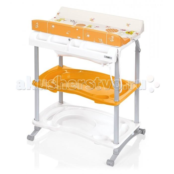 Пеленальный столик Brevi BabidooBabidooПеленальный столик с ванночкой Brevi Babidoo на металлической подставке. Он удобен для небольших ванных комнат, так как занимает мало места. Ванночка (анатомической формы) с 4-мя отделениями спереди для хранения банных принадлежностей.   соответствует стандартам EN 12221:1999 мягкий набивной матрасик для пеленания имеет высокие защитные края матрасик с защитными боковинами можно опустить вниз, чтобы использовать ванночку очень устойчива, благодаря широкому основанию имеет две практичные полки с тремя отделениями для хранения всего, что вам может понадобиться при купании и пеленании малыша очень лёгкая благодаря своей конструкции и используемым материалам защитный крючок на обратной стороне матрасика, предотвращает случайное складывание вместительная съемная ванночка анатомической формы с удобной трубочкой для слива удобная мыльница  Размеры: внешние (шxдхв): 80х62х103,5 см   Вес: 11,5 кг<br>
