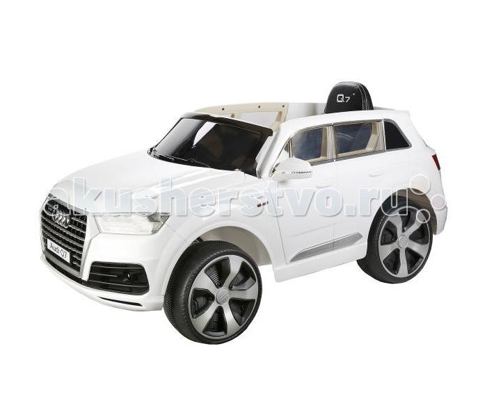 Электромобиль Bugati Джип Audi Q7Джип Audi Q7Электромобиль Bugati Джип Audi Q7 станет первой настоящей машиной для ребёнка.   Внутри находятся 2 аккумулятора мощностью 6V7AH и 2 мотора. При езде развивает максимальную скорость до 5 км/ч, двигается назад и вперёд, поворачивает в стороны. Дополнительно прилагается пульт радиоуправления, поэтому можно контролировать машину удалённо.   Внутри установлено 1 мягкое сиденье из искусственной кожи с ремнём безопасности. Джип оснащается световым и звуковым модулями, светодиодными передними и задними фарами, подсветкой приборной панели, индикатором заряда аккумулятора.   Есть MP3-разъём, через который можно подключить внешний источник музыки. Колёса низкопрофильные, с резиновыми вставками, двери открываются.   Машина заводится с кнопки, как настоящая. На сидении помещается только один ребёнок, выдерживает нагрузку до 30 кг. Все детали проработаны до мелочей, поэтому джип выглядит как настоящий.   Габариты 121х71х59 см<br>