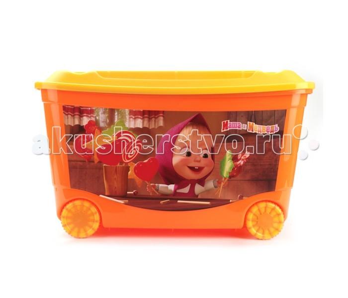 Ящики для игрушек Бытпласт Ящик для игрушек на колесах Маша и Медведь