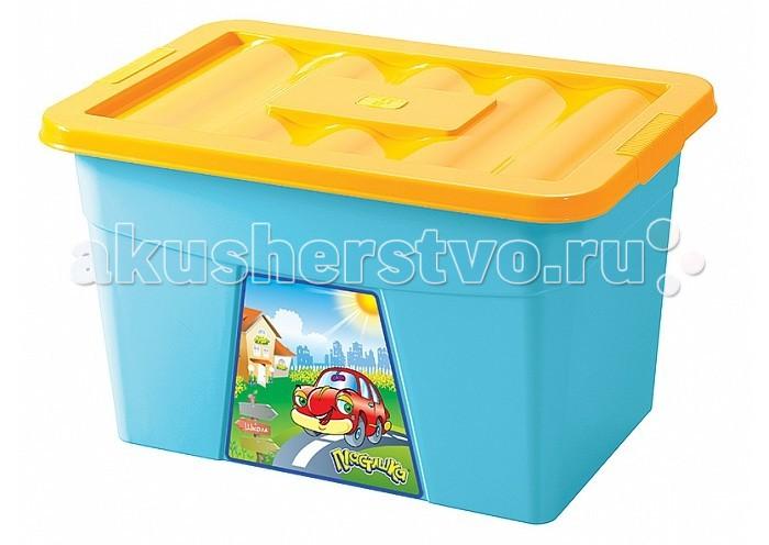 ящики для игрушек okt ящик бегемотик 3 секции Ящики для игрушек Бытпласт Ящик для игрушек на колесах с аппликацией