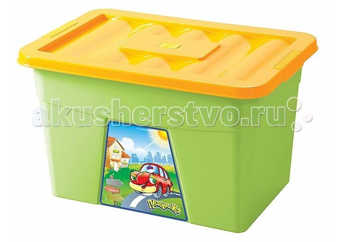 Ящики для игрушек Бытпласт Ящик для игрушек на колесах с аппликацией ящик для игрушек на колесах маша и медведь салатовый