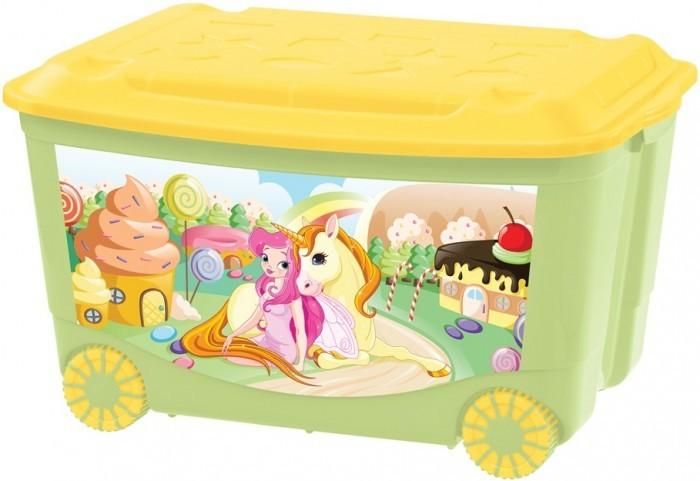 Бытпласт Ящик для игрушек с аппликацией на колесах