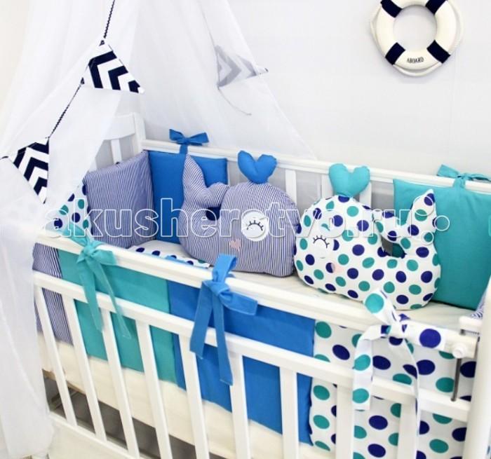 Комплект в кроватку ByTwinz Маленький Кит (17 предметов)