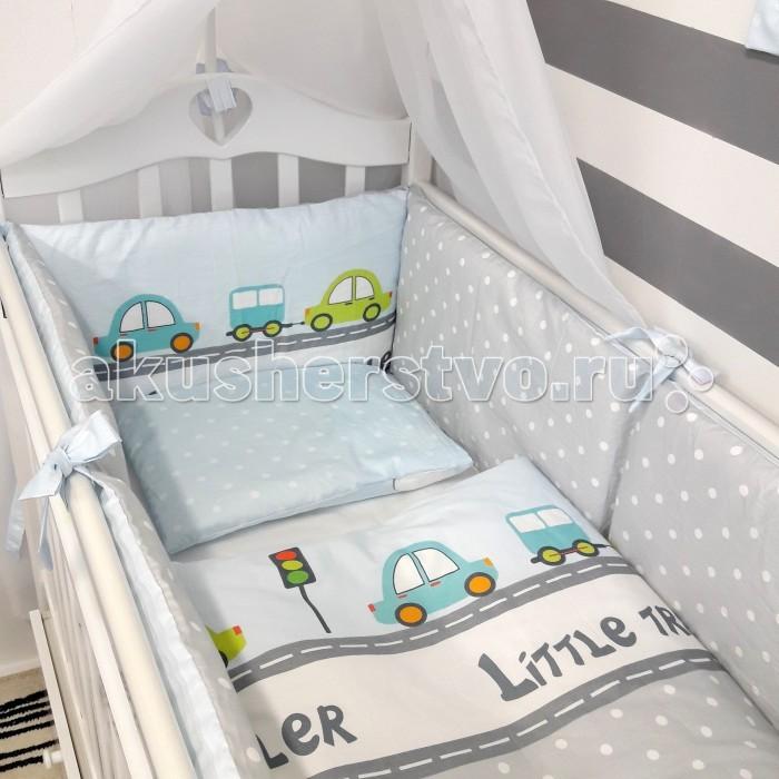 Комплекты в кроватку ByTwinz Веселые машинки (6 предметов) комплекты в кроватку mummys hugs облака 125х65 см 7 предметов