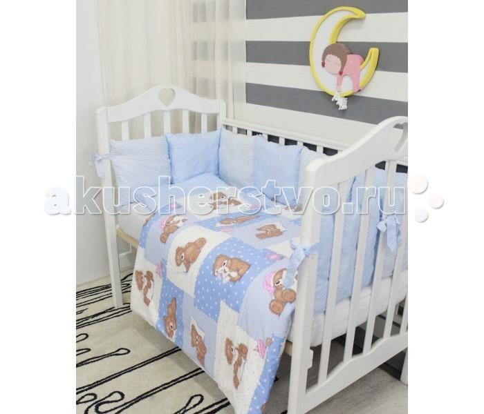 Комплект в кроватку ByTwinz Тедди с подушками-бортиками (6 предметов)Тедди с подушками-бортиками (6 предметов)Комплект в кроватку ByTwinz Тедди (6 предметов) станет настоящим украшением любой детской и подарит малышу много сладких снов.   Особенности: Невероятно нежные и уютные комплекты.  Материалы только полностью натуральные и гипоаллергенные: 100% хлопок. Наполнитель в подушках-бортиках искуственный лебяжий пух гиппоаллергенный, экологически чистый. Наполнитель в подушке детской и одеяле холофайбер.  В комплекте: Простыня на резинке на резинке подходит для кровати 120х60 см и 125х65 см Наволочка 36х46 см Пододеяльник 105х145 см Подушка 35х45 см  Одеяло 100х140 см  12 бортиков-подушечек размером 30x30 см. Чехлы на молнии, съемные. Каждая подушечка имеет 2 завязки.<br>