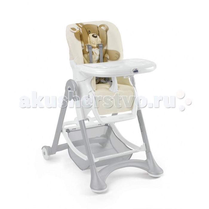 Стульчик для кормления CAM CampioneCampioneСтульчик для кормления CAM Campione   Особенности:  Может складываться и раскладываться одним движением при помощи ручки в корзине стульчика.  Имеет шесть положений высоты.  Новый запатентованный механизм позволяет регулировать одновременно спинку и подставку под ножки в пяти позициях.  При помощи колес стульчик легко перемещается в любых направлениях, задние колеса снабжены тормозом.  Стульчик снабжен ремнями безопасности, застежками и дополнительным столиком, не имеющим острых краев.  Широкий поддон может быть уделен одним движением руки.  В корзине стульчика можно хранить игрушки ребенка.  В сложенном состоянии стульчик занимает небольшое пространство, очень компактен, легко моется.  Перегородка между ножками не убирается Вес: 9,8 кг Размеры (вхдхш): 109х84х61 см Размеры в сложенном виде (в&#215;д&#215;ш): 97х40х61 см.<br>