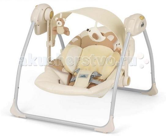 CAM Шезлонг-люлька SonnolentoШезлонг-люлька SonnolentoCAM Шезлонг-люлька Sonnolento  Шезлонг-люлька Sonnolento предназначена для детей весом до 9 кг.  Особенности: регулируемая спинка в 2 положениях,  мягкое тканевое покрытие,  мягкий подголовник,  пятиточечные ремни безопасности,  летний козырек от солнца с двумя съёмными игрушками регулируется по высоте в 2 позициях,  с тремя регулируемыми скоростями,  автоматическим выключением (8-15-30 мин.),  5 успокаивающих колыбельных,  3 мелодии со звуками природы,  регулируемый звук,  ножки с нескользящими резиновыми вставками,  с питанием от батареек (4 батареи - 1,5 вольт).  Возможно использовать как колыбель путем блокировки сидения.  Тканевая накидка полностью снимается, стирается при температуре 30°C.  Шезлонг компактно складывается.  Яркая, презентабельная упаковка.   РАЗМЕРЫ И ВЕС: Размеры в разложенном виде: 61,5–64–58 см (Д-Ш-В)  Размеры в сложенном виде: 61,5-26-63 см  ВЕС: 4 кг  Безопасность Соответствует стандарту безопасности EN 16232 Для малышей весом до 9 кг Пройдены все тесты на безопасность для каждого электрокомпонента Пройден тест на стабильность для компонента – качели  Проверенная всесторонняя устойчивость изделия во избежание риска переворачивания шезлонга с малышом внутри Тест на самопроизвольное складывание: возможность самопроизвольного складывания исключена благодаря механизму безопасности Нескользящие прорезиненные упоры на основании шезлонга Абсолютно безопасные, нетоксичные, не содержащие фталат материалы (соответствие стандарту 20005/84/CE)<br>