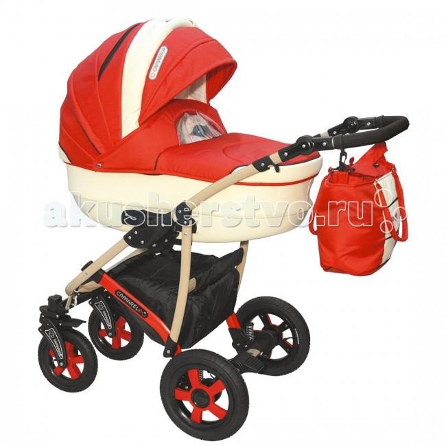 Коляска Camarelo Carmela 3 в 1Carmela 3 в 1Коляска Camarelo Carmela 3 в 1 разработана специально для детей от самого рождения до 3-х лет. Модель выполнена из высококачественных современных материалов, отличается стильным внешним видом, надувными колесами и современной конструкцией . Включает в себя комфортную люльку-переноску для новорожденных, автокресло-переноску и прогулочный модуль для детей в возрасте от полугода.  В коляске Camarelo Carmela 3 в 1 объединились все самые удачные детали, необходимые для удобства мамы и малыша при любых погодных условиях.  Люлька: высококачественные современные материалы отличная вентиляция внутри коляски просторная люлька из пластика с регулируемым подголовником возможность установки в двух положениях с противоположным направлением ручка для переноса люльки  защитный капор со смотровым окошком съемная подкладка люлька дополнена матрасиком и утепленным чехлом.  Прогулочный блок: 3 положения спинки, включая горизонтальное 5-ти точечные ремни безопасности защитный бампер регулируемая по высоте подножка съемный капюшон.  Автокресло: Вес ребенка От 0 до 13 кг (группа 0+) Способ установки спиной вперед Количество положений ручки: 2 Размер 65х56х58 см Вес: 3 кг.  Шасси: возможность установки автокресла надежная устойчивая конструкция рамы маневренность и отличная проходимость хорошая амортизация 5 уровней высоты ручки.  внутренние размеры люльки: длина — 85 см, ширина — 37 см ширина сидения: 32 см<br>