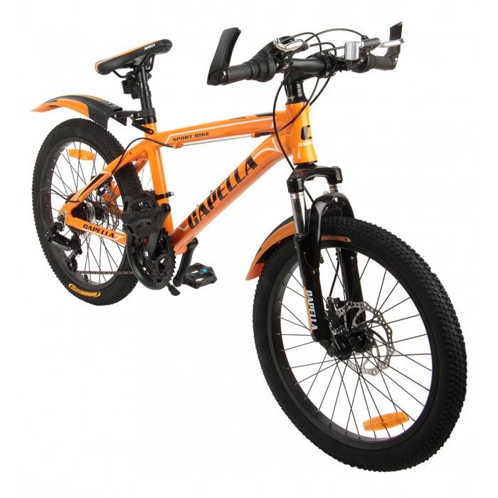 Велосипед двухколесный Capella спортивный G20A703Двухколесные велосипеды<br>Capella Двухколёсный велосипед спортивный G20A703 – модель, с помощью которой ваш малыш с легкостью научится держать равновесие на двухколесном велосипеде с помощью дополнительных страховочных колес. Симпатичная модель имеет раму интересной формы, спортивный дизайн и надувные колеса на спицах.  Особенности: Материал рамы : алюминий Конструкция рамы : хардтейл Размер колеса (дюйм): 20 Количество передач : 21 Передний переключатель : начального уровня shimano Задний переключатель : начального уровня shimano Манетки : начального уровня Тип манеток : вращающаяся ручка Задний тормоз : дисковый Передний тормоз : дисковый Вилка : пружинно-эластомерная Тип велосипеда : спортивный Страховочные (дополнительные) колеса :нет Вес (кг): 12.6