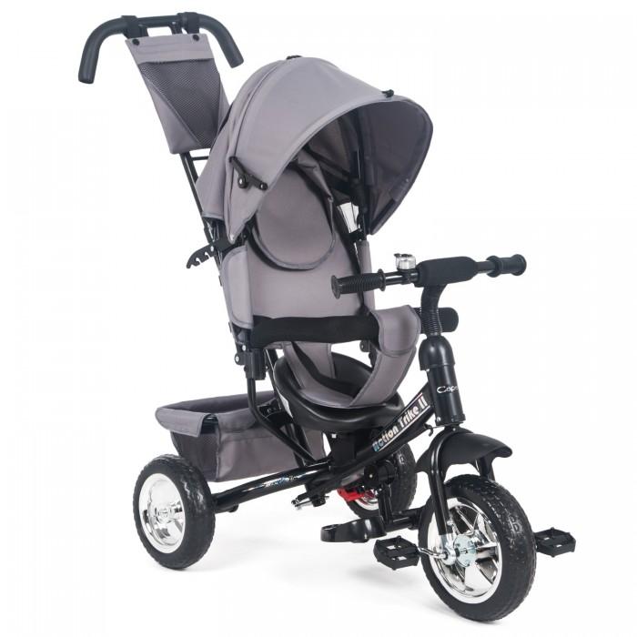 """Велосипед трехколесный Capella Action Trike IIAction Trike IIВелосипед трехколесный Capella Action Trike II станет отличной заменой прогулочной коляске.  Особенности: 3-х точечные ремни безопасности удобное сидение с вкладышем корзина для продуктов родительская ручка бампер для безопасности малыша складной капор от солнца подножки сумка для родителей широкие, проходимые PU колеса 12"""" переднее, 10"""" задние звонок.<br>"""