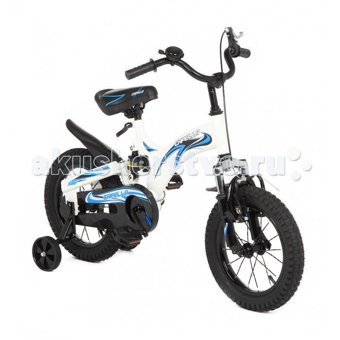 Велосипед двухколесный Capella G14BA606G14BA606Велосипед двухколесный Capella G14BA606   Детский велосипед двухколесный Capella G14BA606 – модель на раме с цветным рисунком, который придется по душе ребятишкам старше трех лет.   Для деток, которые только осваивают искусство держать равновесие на двухколесном велосипеде, предусмотрены дополнительные страховочные колесики.   Надувные колеса на спицах, с протекторами, обеспечивают велосипеду устойчивость и позволяют ездить не только по асфальту, крыло на заднем колесе защищает от брызг, а ручной тормоз обеспечивает полный контроль над движением.   Цепь полностью закрыта от шаловливых ручек пластиковой накладкой.   Сиденье удобной формы, с увеличенной спинкой, регулируется по высоте.   Звонок на руле научит малыша подавать сигналы при своем появлении.<br>