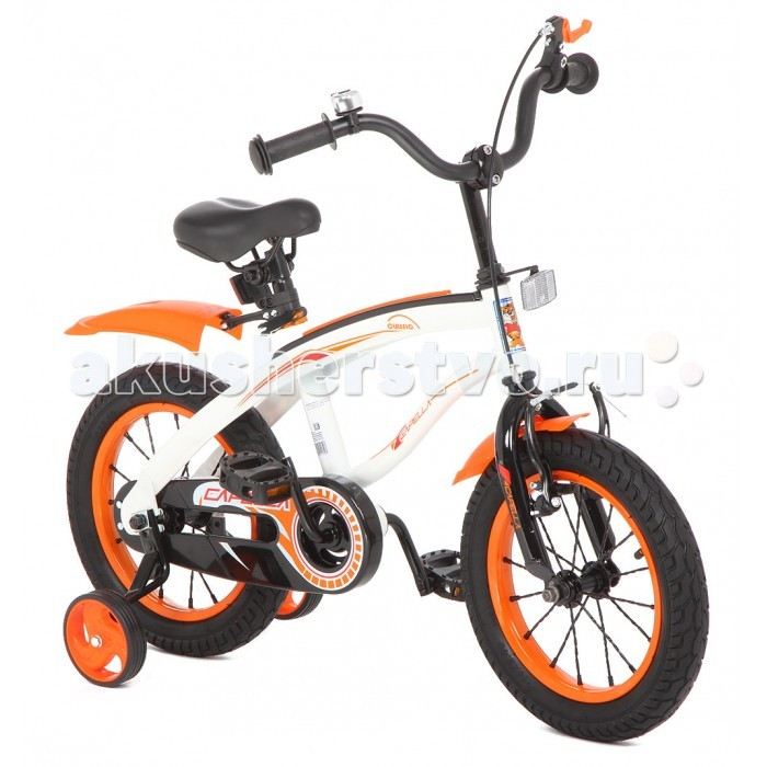 Велосипед двухколесный Capella G14BMG14BMВелосипед двухколесный Capella G14BM   Детский велосипед двухколесный Capella G14BM – модель, с помощью которой ваш малыш с легкостью научится держать равновесие на двухколесном велосипеде с помощью дополнительных страховочных колес.   Симпатичная модель имеет раму интересной формы, спортивный двухцветный дизайн и надувные колеса на спицах диаметром 14 дюймов.   Цепь закрыта пластиковым кожухом от загрязнений, крылья на колесах защищают от брызг.   Ручной тормоз, звонок на сиденье, светоотражающий элемент на руле – все, как у «взрослого» велосипеда»!<br>