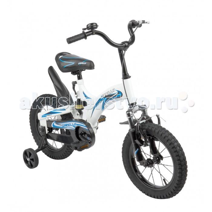 Велосипед двухколесный Capella G16BA606Двухколесные велосипеды<br>Велосипед двухколесный Capella G16BA606   Детский велосипед двухколесный Capella G16BA606 – модель на раме с цветным рисунком, который придется по душе ребятишкам старше трех лет.   Для деток, которые только осваивают искусство держать равновесие на двухколесном велосипеде, предусмотрены дополнительные страховочные колесики.   Надувные колеса на спицах, с протекторами, обеспечивают велосипеду устойчивость и позволяют ездить не только по асфальту, крыло на заднем колесе защищает от брызг, а ручной тормоз обеспечивает полный контроль над движением.   Цепь полностью закрыта от шаловливых ручек пластиковой накладкой.   Сиденье удобной формы, с увеличенной спинкой, регулируется по высоте.   Звонок на руле научит малыша подавать сигналы при своем появлении.