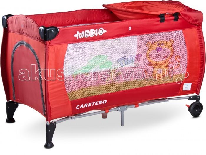 Манеж Caretero Medio ClassicMedio ClassicМанеж Caretero Medio Classic это новая версия двухуровневого манежа-кроватки, с обновленным дизайном и цветными рисунками, который оснащен множеством полезных функций, которые помогают ухаживать за малышом.   Манеж-кровать Caretero Medio Classic это идеальный вариант для родителей, которые хотят дать своему самое лучшее. Caretero Medio Classic позаботится о комфортном сне вашего малыша и подарит Вам прекрасные минуты отдыха и спокойствия.   Особенности: Двухуровневый манеж-кровать для детей до 15 кг Оригинальный и стильный дизайн Прочная конструкция Съемный подвесной столик для пеленания со специальной непромокающей и легко моющейся подложкой Защита от непреднамеренного складывания кроватки благодаря системе двойной блокировки Double-Lock Мягкий и уютный матрасик обеспечат ребенку комфортный сон Подвесной 2 уровень манежа повышает удобство ухода за новорожденным, рассчитан до 9 кг Дверки с замком позволяют ребенку самостоятельно забираться в кроватку Практичный карман на липучке, для хранения необходимых мелочей Колеса с тормозами помогают легко передвигать манеж по комнате Кроватка соответствует европейскому нормативу EN 716 Манеж изготовлен из прочных и качественных материалов, легко поддающихся чистке Удобная сумка для переноски сложенной кроватки Благодаря веселому, цветному дизайну кроватка отлично впишется в интерьер детской комнаты  В комплекте: Клапан на молнии Мягкий матрасик размером 120 х 60 см Съемный подвесной столик для пеленания Сумка для переноски<br>