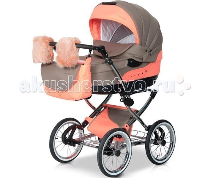 Коляска Caretto Michelle 2 в 1Michelle 2 в 1Детская коляска Caretto Michelle 2 в 1 выглядит очень презентабельно – зеркальная хромированная рама, меховые варежки для мамы с креплением на ручку коляски, дополнительная изящная сумка для покупок или игрушек с крышкой – имея такую красавицу, прогулки с малышом будут в радость маме.   Детская коляска оснащена двумя модулями, что позволит ее использовать с рождения малыша до возраста 3-х лет. Для комфорта и безопасности ребенка предусмотрены основные наполняющие – жесткий противоударный каркас, мягкая хлопковая внутренняя обивка, надежные ремни безопасности со смягчающими накладками, ограничительные элементы, не сковывающие движения малыша.  спальное место люльки (см): длина — 84, ширина — 39, глубина — 22<br>