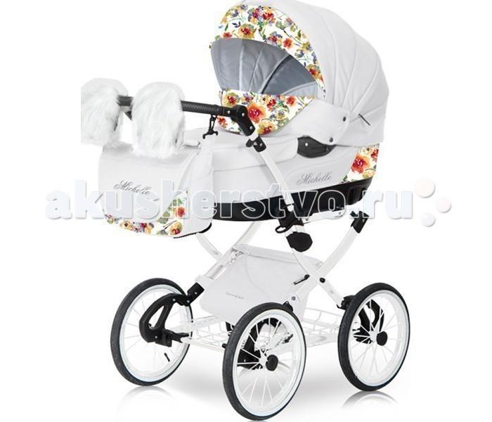 Коляска Caretto Michelle Lux 2 в 1Michelle Lux 2 в 1Детская коляска Caretto Michelle Lux 2 в 1 выглядит очень презентабельно – зеркальная хромированная рама, меховые варежки для мамы с креплением на ручку коляски, дополнительная изящная сумка для покупок или игрушек с крышкой – имея такую красавицу, прогулки с малышом будут в радость маме. Изысканные расцветки, отточенные формы, высококачественные европейские материалы – экокожа и текстиль, белая рама.  Детская коляска оснащена двумя модулями, что позволит ее использовать с рождения малыша до возраста 3-х лет. Для комфорта и безопасности ребенка предусмотрены основные наполняющие – жесткий противоударный каркас, мягкая хлопковая внутренняя обивка, надежные ремни безопасности со смягчающими накладками, ограничительные элементы, не сковывающие движения малыша.  Michelle Lux обладает большой, очень вместительной люлькой 39х86 см, что важно в условиях российских холодов. Это позволяет удобно поместить и дополнительный матрасик, и объемный меховой конверт. И создает комфорт даже крупному малышу.   Общие характеристики: два сменных модуля для детей до 3-х лет стильная и надежная хромированная рама регулируемая высота ручки большой диаметр колес для максимальной проходимости надувные резиновые колеса с дисками на спицах отличная амортизация функция укачивания ножная независимая тормозная система механизм складывания шасси - «книжка» имеет две корзины для покупок (металлическую и текстильную подвесную) в комплекте меховые варежки для мамы  Люлька: используется с рождения ребенка до 6 месяцев внутренняя обивка – 100 % хлопок широкое спальное место жесткое дно  вся внутренняя обивка съемная, допускается стирка в стиральной машине  регулируемая высота подголовника  высокий барьер от плохой погоды ремни для переноски  большой всесезонный капюшон  Прогулочный блок: для детей с 6 месяцев  дополнительный вкладыш для максимального комфорта наклон спинки регулируется  защитный бампер центральный разделитель ножек из текстиля пятиточ