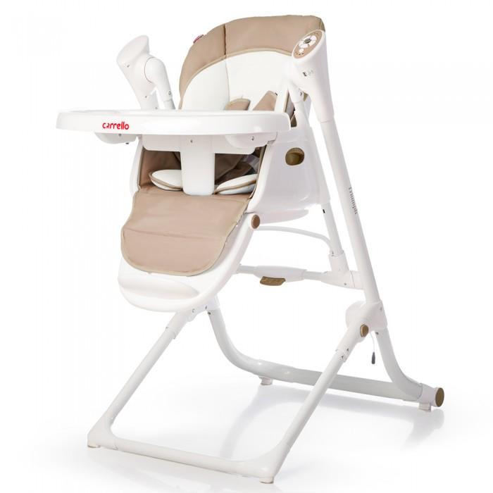 Стульчик для кормления Carrello  TriumphTriumphСтульчик для кормления Triumph многофункциональный стульчик, который объединяет в себе функции шезлонга, качалки и стульчика для кормления.   Стульчик CARRELLO Triumph предназначен для детей от рождения и до 3-х лет.  Оснащен регулировкой сидения по высоте, регулировкой спинки и регулировкой подножки, что позволяет стульчику расти вместе с малышом. Бесшумный маятниковый механизм позволяет укачивать ребенка в стульчике,  как в обычных электронных качалках. Про развитие малыша позаботится музыкальный модуль с приятными мелодиями и дуга с красивыми мягкими игрушками.  Для удобства родителей, в комплект входит пульт дистанционного  управления.Безопасность обеспечат: устойчивая конструкция с прорезиненными ножками, надежные пятиточечные ремни и ограничитель от сползания на столике.  Особенности: Размер (ВхГхШ) - 98 x 90 x 58 см Размер в сложенном виде (ВхГхШ) - 135 x 65 x 58 см Регулировка по высоте - 6 положений Регулировка спинки - 4 положения Подставка для ножек - регулируемая Столешница - регулируемая Ремень безопасности - 5-ти точечный Наличие колес - 2 на задней оси Звуковое сопровождение - Стандартные мелодии, МР3 Питание - От сети или 4 батарейки АА Аксессуары - Мягкий вкладыш, дуга с игрушками, пульт ДУ<br>