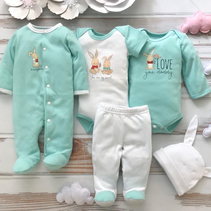 Комплекты детской одежды, Carrot Комплект детский Зайчики на мятном (5 предметов)  - купить со скидкой