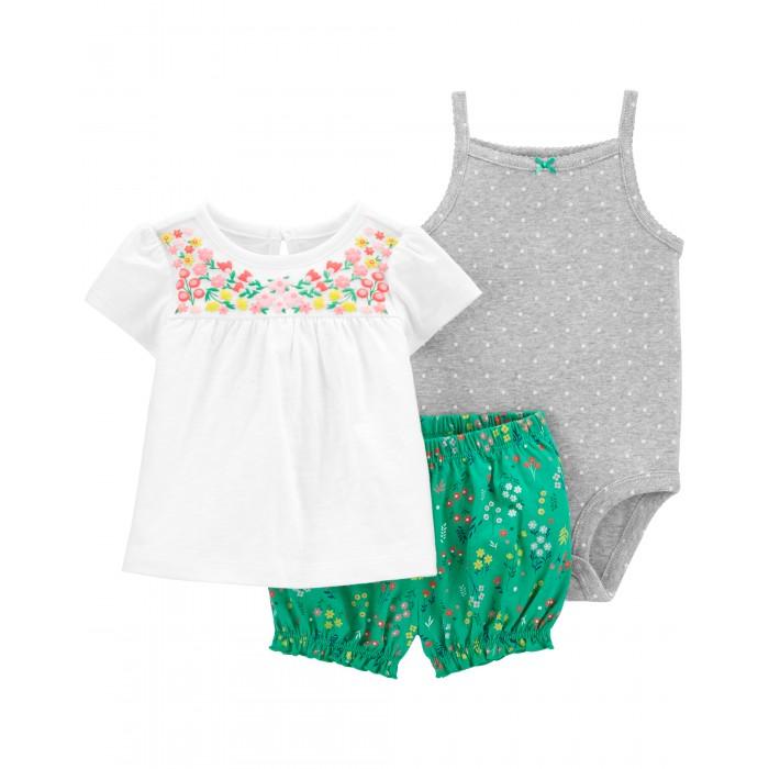 Фото - Комплекты детской одежды Carter's Комплект для девочки (боди, туника, шорты) комплекты детской одежды mini world комплект для девочки туника бриджи