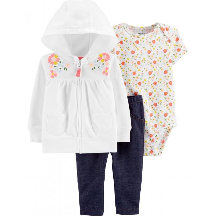 Комплекты детской одежды Carters Комплект для девочки Цветы (3 предмета)