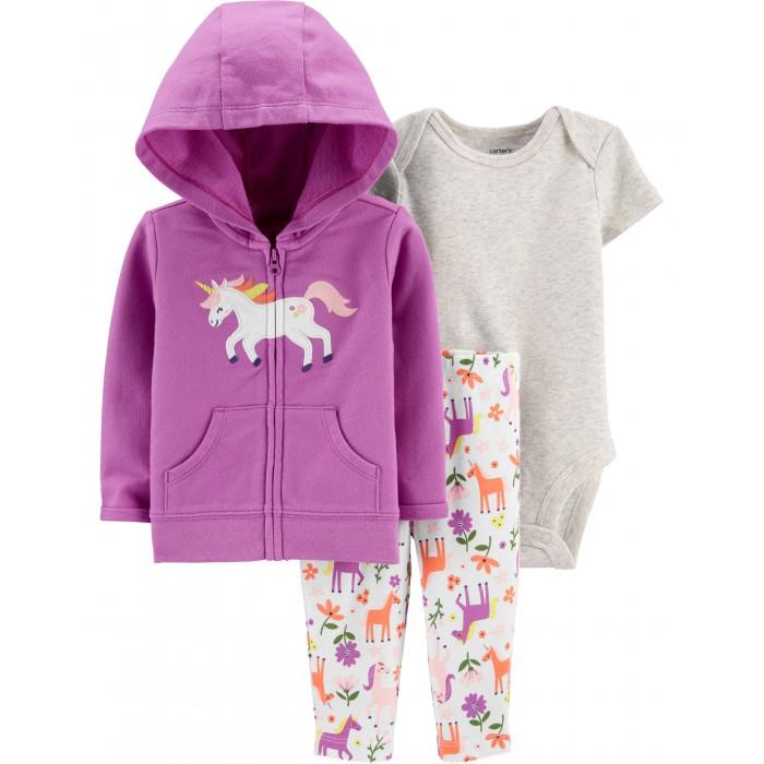 Комплекты детской одежды Carters Комплект для девочки Единорог (3 предмета)