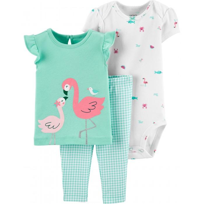 Комплекты детской одежды Carters Комплект для девочки Фламинго (3 предмета)