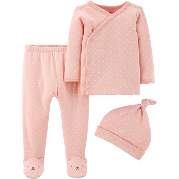распашонки и кофточки Распашонки и ползунки Carter's Комплект для девочки (фуфайка, штанишки, шапочка)