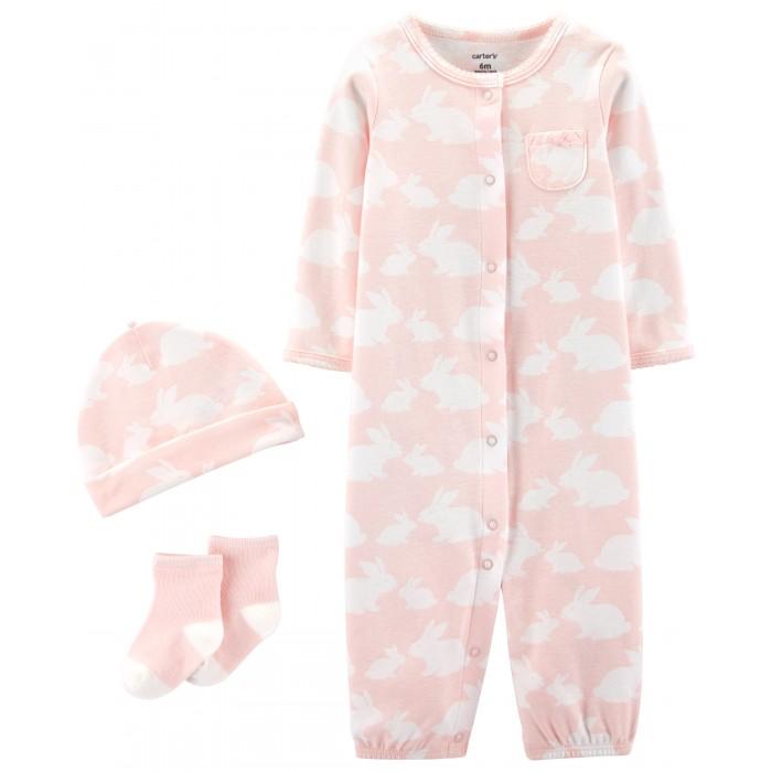 Комплекты детской одежды Carters Комплект для девочки (комбинезон, шапочка, носочки)