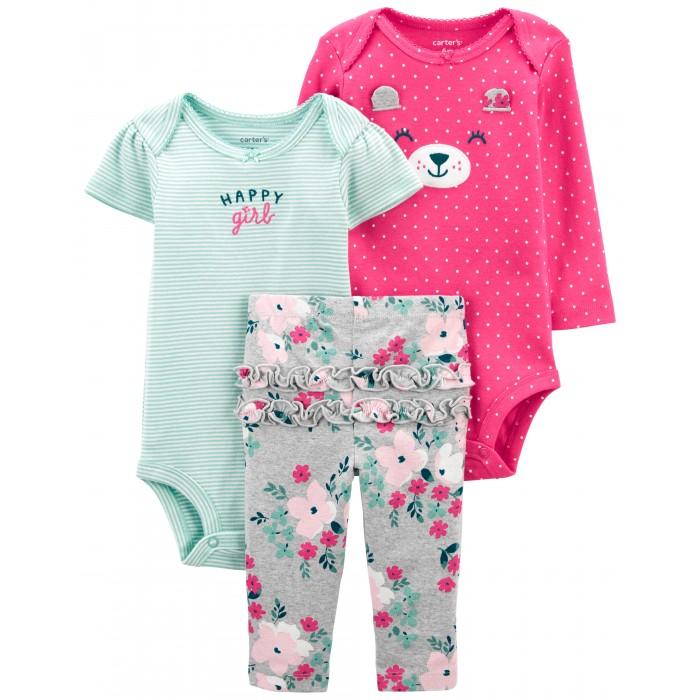 Комплекты детской одежды Carter's Комплект для девочки (полукомбинезон, боди, брюки) 1J996910 комплекты детской одежды лео комплект тигренок боди и полукомбинезон 3013а 1