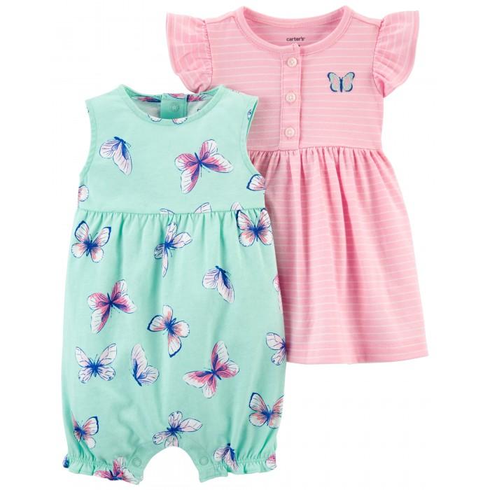 Комплекты детской одежды Carter's Комплект для девочки (полукомбинезон, платье) 1K664010