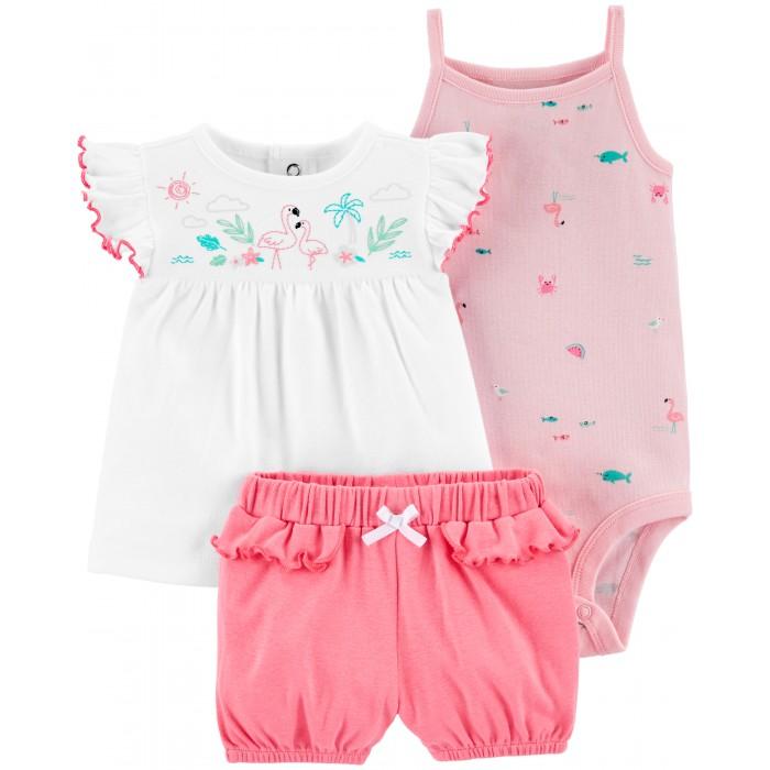 Комплекты детской одежды Carters Комплект для девочки Тропики (3 предмета)
