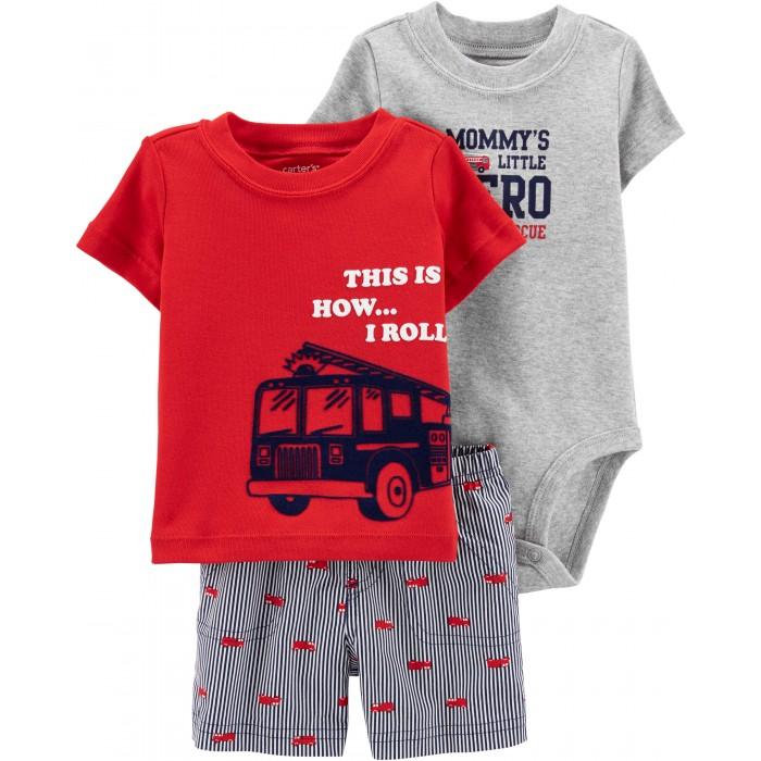 Купить Комплекты детской одежды, Carter's Комплект для мальчика (футболка, боди, шорты) 1H350610