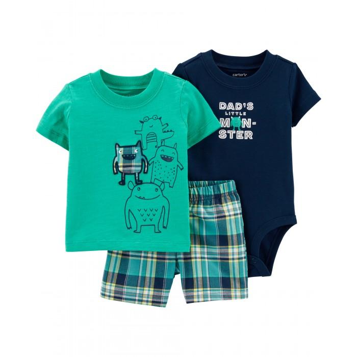 Купить Комплекты детской одежды, Carter's Комплект для мальчика (футболка, боди, шорты) 1H350710