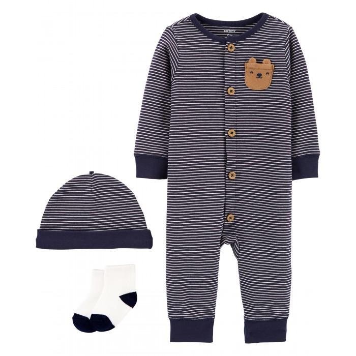 Carter's Комплект для мальчика (комбинезон, шапочка, носки)
