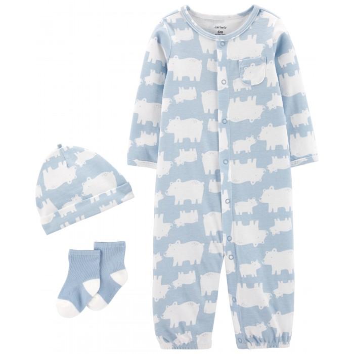 Комплекты детской одежды Carters Комплект для мальчика (комбинезон, шапочка, носочки)