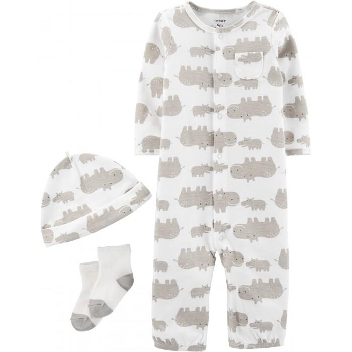 Боди, песочники, комбинезоны Carters Комплект (комбинезон, шапочка, носочки) Бегемоты косметические носочки 100% хлопок cosmetic socks